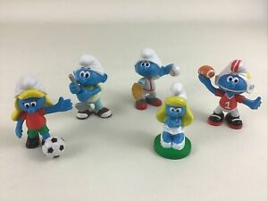 Peyo Sporting Smurfs 5pc Lot Smurfette Football Baseball Golf Topper 2009 Jakks