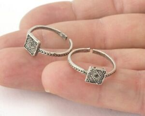 Minimalist Square Ring Adjustable Antique Silver Plated Brass 16.5mm 6.5US 2090