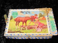 "VINTAGE ""VICTORY"" WOODEN JIG-SAW PUZZLE Boy & Girl with Foal COMPLETE 48 pcs"