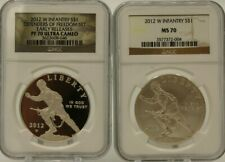 SET OF 2 2012 W $1 SILVER INFANTRY DEFENDERS OF FREEDOM NGC PF70 UCAM ER/ MS70