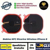 🔝Bobina NFC Ricarica Wireless Charge QI + Cavo Flex Flat Apple iPhone 8