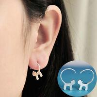 Fashion Women Cute Mini Cat Silver Plated Earrings Delicate Ear Studs Elegant
