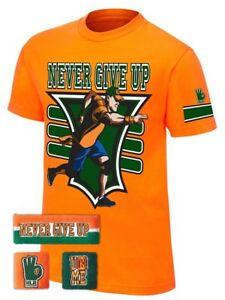 John Cena Boys Orange Never Give Up Costume WWE T-shirt Headband Wristbands