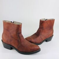 Durango TR 824 Mens Size 9 D Brown Marbled Leather Side Zip Western Ankle Boots