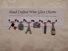 """""""FRANCE""""/ PARIS  SET OF 6  HAND CRAFTED Wine glass drink marker Charms"""
