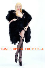 1/6 Woman Clothes Faux BLACK Fur Cape Shawl Wrap For Phicen Kumik Verycool ❶USA❶