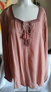 Lucky Brand Womens Boho Salmon Embroidered Pullover Tunic Top Sz XL