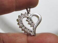 Heart with Round Diamonds 1.12 tcw Ac3 Stunning solid 14K White Gold Pendant