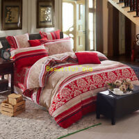 Single/Double/Queen/King Quilt/Doona/Duvet Cover Set 100%Cotton Rose Red Striped