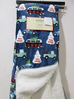 "Christmas Berkshire Cars Plush Sherpa Lined Blue Throw Blanket 50"" x 60"""