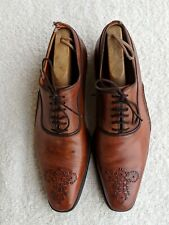 MAGNANNI Gregorio Leather Oxford Shoes 9.5 Brown Cross Stitch Whole Cut Sole 495