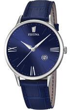 Festina F16824/3 Herrenuhr Blau Leder *NEU