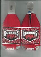 Arkansas Razorbacks Koozie Set of 2 Team Hogs Logo Drink Bottle Koozies New