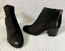 Aldo Black Suede Leather Block Heel Zip Up Booties Ankle Boots Women's Sz 8