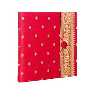 Red Sari Fabric Cover Photo Album, 30 Pages to fit 120 6x4 - 2nd Quality