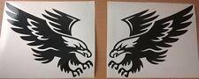 2 tribal Hawk Eagle atacando Gráfico de vinilo Pegatina de Coche Bonnet L + R Lado Pared Arte