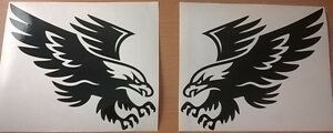 2 tribal hawk eagle attacking vinyl graphic car sticker bonnet L+R side wall art