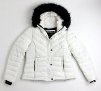 Superdry Womens Icelandic Quilted Winter Jacket Hooded White Size UK12