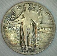 1927 Silver Standing Liberty Quarter 25C US Coin FINE Condition m25