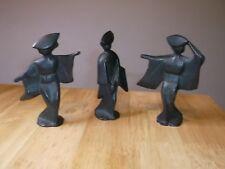Japanese Geisha Figures Lot of 3 Cast Iron