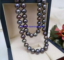 "35"" Natural AAA 8-9mm Tahitian Black Pearl Necklace Yellow Ball Clasp"