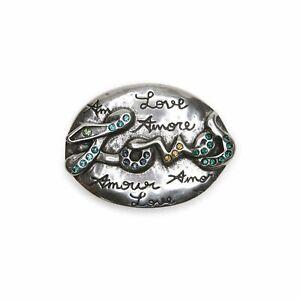 Schließe Buckle Gürtel-Schnalle Silver Love Wechselschließe für 4 cm Gürtel
