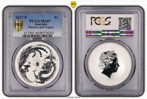 2017-P Australia $1 Silver Dollar  Phoenix and Dragon Frosted PCGS GRADED MS69