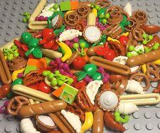 Lego X60 pc. Foods Pie,pretzel,bread,croissant,cherry,Apple,banana,orange Juice