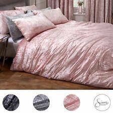 Sienna Crinkle Crushed Velvet Duvet Cover with Pillowcase Valencia Bedding Set
