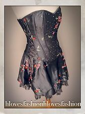 🌸👑LIPSY Grey Satin Floral Boned Corset Sequin Bead Dress UK 8 10 S/M EU 36/38