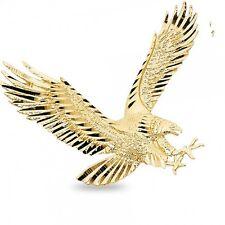 Big Eagle Pendant Solid 14k Yellow Gold Bird Charm Diamond Cut Polished Large