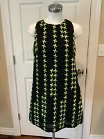 Milly Black & Lime Green Crinkle Textured Shift Dress, Size 10, NWT!