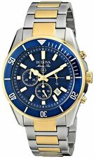 Bulova Men's Marine Star Two Tone Gold Watch 98B230 Blue dial Watch NEW