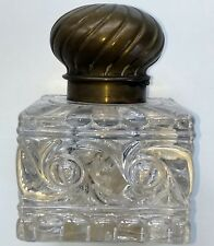 BACCARAT RUSSE 19th C. ANTIQUE LARGE HEAVY GLASS INKWELL with BRASS HINGED LID