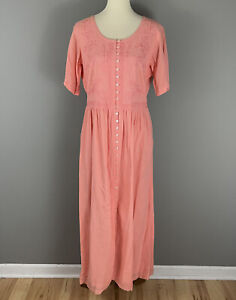 Vtg Together! Coral Rayon Embroidered Dress Sz L Cottage Core Button Front Long