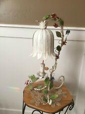 VINTAGE ANTIQUE ITALIAN TOLE TULIP LAMP. GORGEOUS