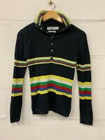 Tommy Hilfiger Vintage Jumper Knitted Button Neck High Neck Striped Size M UK 12