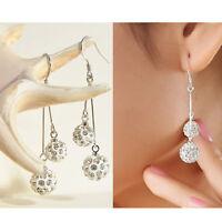 Fashion Womens Silver Plated Crystal Ear Stud Earrings Hook Dangle Jewelry
