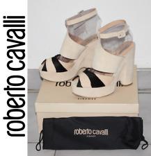 Roberto Cavalli Zebra Haircalf / Suede Platform Wedges Sandals US 8 /IT 39  $760