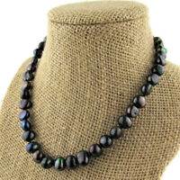 """Kenneth Jay Lane Black Freshwater Pearl Necklace Signed 1980s 16"""" Retro Gift"""