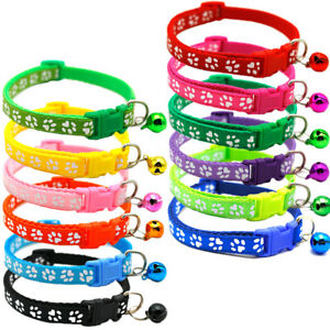 Adjustable Cat Kitten Puppy Paw Print  Collar With Bell 12 Colours