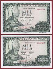 SPAIN. 1000 Pesetas 1965 ( PAREJA CORRELATIVA ) Serie: G ( EBC+ / XF+ )  Leer