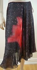 ROBERTO CAVALLI Multi Colour Rose Print Metallic Silver Silk Evening Skirt XS
