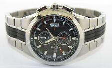 Men's CROTON Chronomaster Stainless Steel & Black Rubber Watch