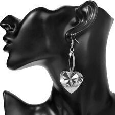 Long Earrings Silver Crystal Drop Heart Party Dangle Statement Metal Large Light