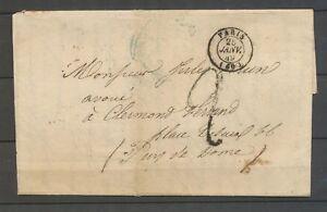 25 Janvier 1849 Lettre Cachet à date PARIS ( 60 ) + Taxe 2d X3160