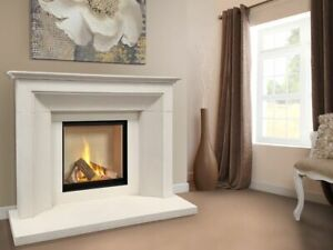 Asencio natural stone fireplace complete with Asencio Gas Log Fire