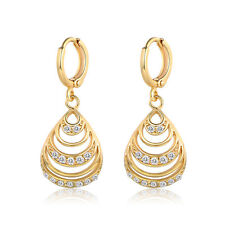 Drop Shell 18K Gold Filled Diamond Topaz Women Lady Wedding Dangle Hoop Earrings