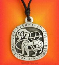 Viking Horse Pewter Pendant adjustable Necklace Sleipnir Runes Odin Pagan Norse