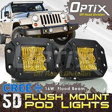 2x 16W CREE 5D LED Yellow Pod Flood Lights Flush Mount Driving Work Fog Light